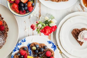 Table set for Breakfast with Waffles