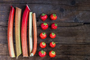 Pieces of Cut Rhubarb and Strawberries