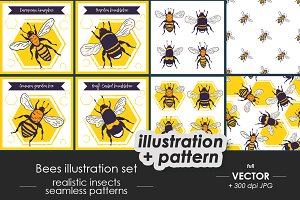 Bees set, illustrations + patterns