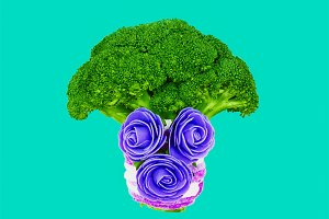 Broccoli and flowers. Vegan minimal