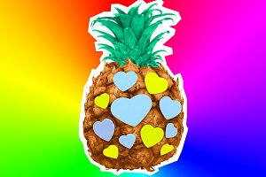 Pineapple and hearts.