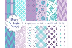 Purple & Turquoise digital papers