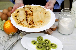 crepes and pancakes freshly made on the plate