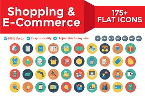 Shopping and E-Commerce Flat Circle