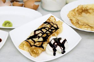crepes and pancakes freshly made chocolate