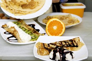 crepes and pancakes freshly made with chocolate and orange