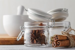 Spices in special jars