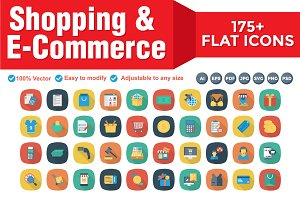 Shopping & E-Commerce Flat Square
