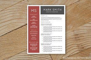 Red Black Resume Template - MS Word