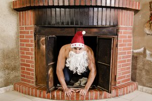 Fitness santa is at home