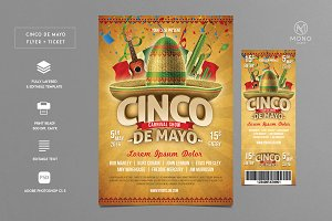 Cinco De Mayo Flyer + Ticket