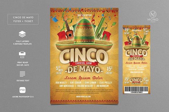 Cinco De Mayo Flyer Ticket