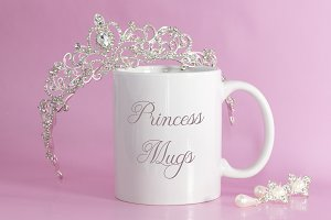 Tiara and pink background Mug Mockup