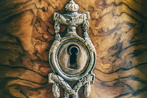 Antique metal keyhole