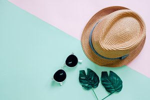 Flat lay of summer accessories items