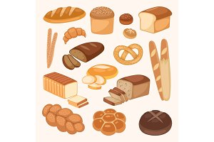 Bread bakery products color vector illustration organic agriculture meal fresh pastry.