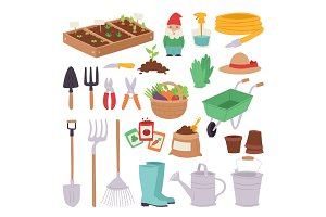 Gardening icon set agriculture design spring nature environment ecology tool garden vector illustration