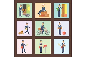 Postman delivery man cards character vector courier occupation carrier cute male package transportation.