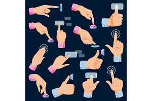 Human hands arm fingers pushing buttons vector set collection isolated