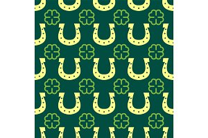 Good luck seamless pattern horseshoe clover vector lettering background greeting typography.