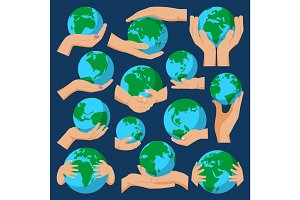 Globe earth in holding hand icon vector illustration isolated