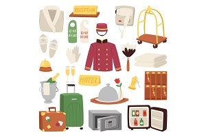 Hotel or accommodation icon set travel symbol service reception luggage suitcase vector illustration
