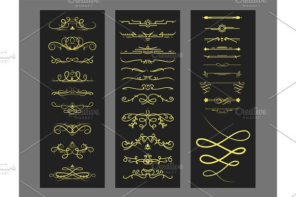 Collection Of Vector Dividers Calligraphic Style Vintage Border Frame Design Decorative Illustration
