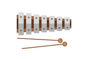 Xylophone musical sound instrument vector illustration.