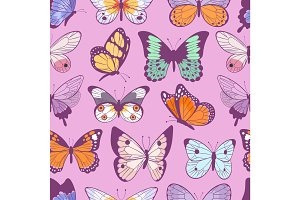 Colorful different summer butterfly wings seamless pattern vector illustration background.