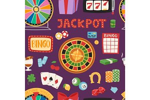Casino game gambling symbols blackjack cards money winning roulette joker vector seamless pattern
