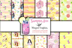 Summer Love: 12 seamless patterns
