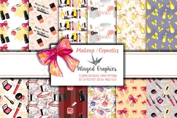 Cosmetics 12 seamless patterns