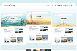 Wanderer One Page Web Template PSD
