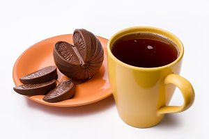 A cup of tea and chocolate.