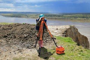 Geodetic works at excavation