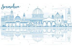Outline Jerusalem Skyline