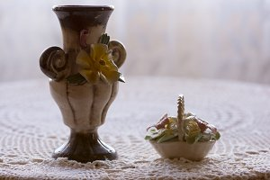 small porcelain vase and flowers