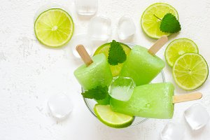 Healthy lime mint popsicles