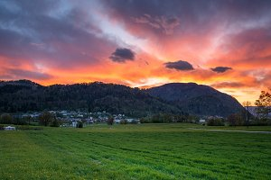 Vivid sunset in the countryside