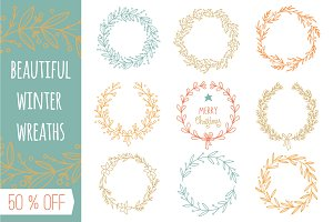 Set of hand drawn winter wreaths