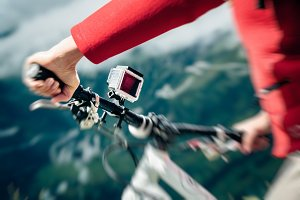 Action Camera Mounted On Mountain Bike