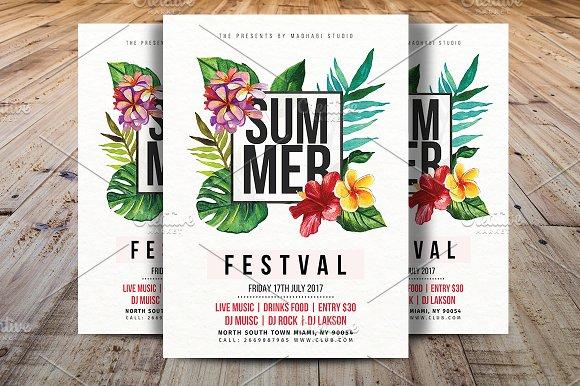 Summer Festival Flyer Template Flyer Templates Creative Market – Summer Flyer Template