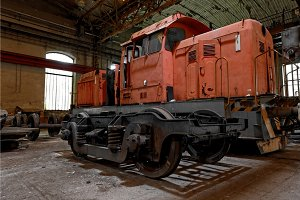 Freight train in garage