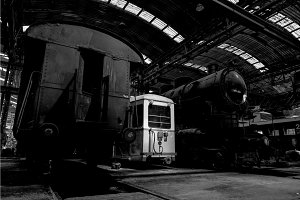 Old industrial locomotive in the garage