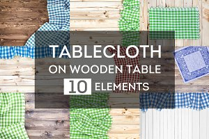 Tablecloth on wooden table