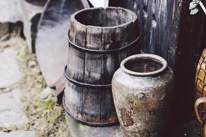 Old handmade storage vessels