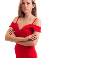 Young woman in red dress