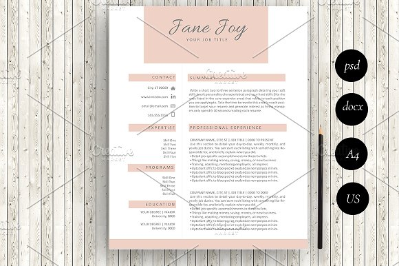 Resume Template Word Photoshop