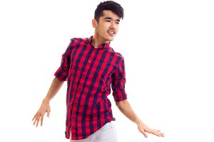 Young man in plaid shirt