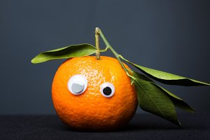 Funny Tangerine With Eyes